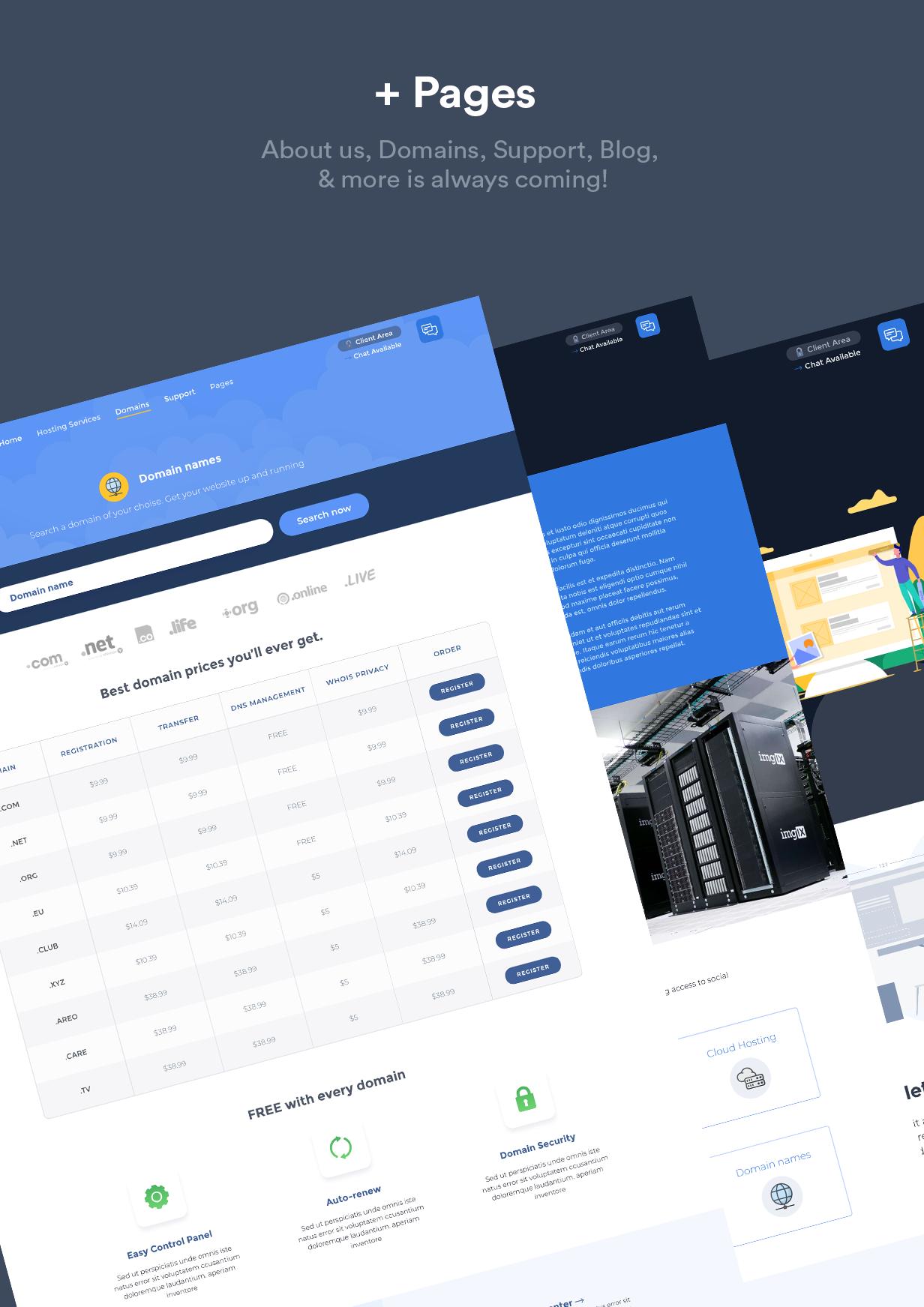 WHMCS模板Hustbee 4.12-服务器托管和销售-常网小站Miknio